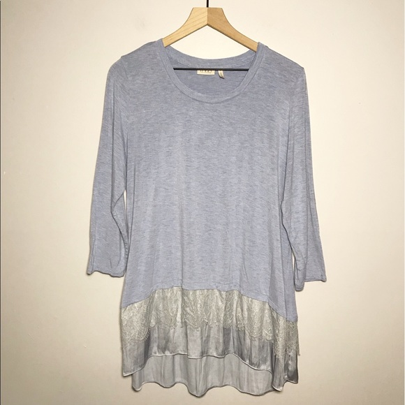 LOGO Jersey Lace Satin Tunic Top in Blue